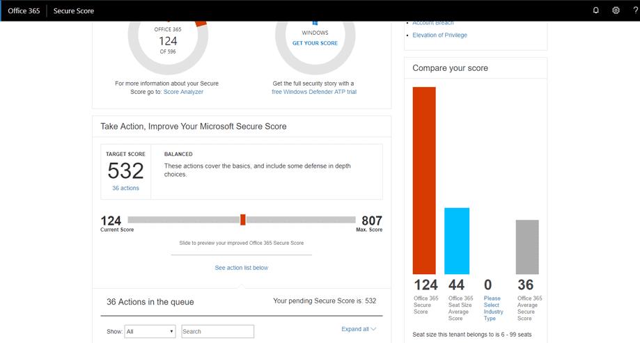 Managing Microsoft Secure Score